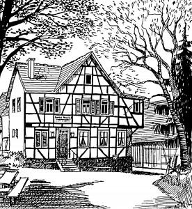 Skizze Fachwerkgebäude